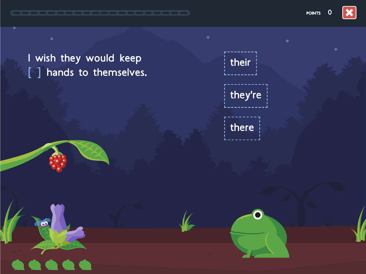 Feed the frog game screen