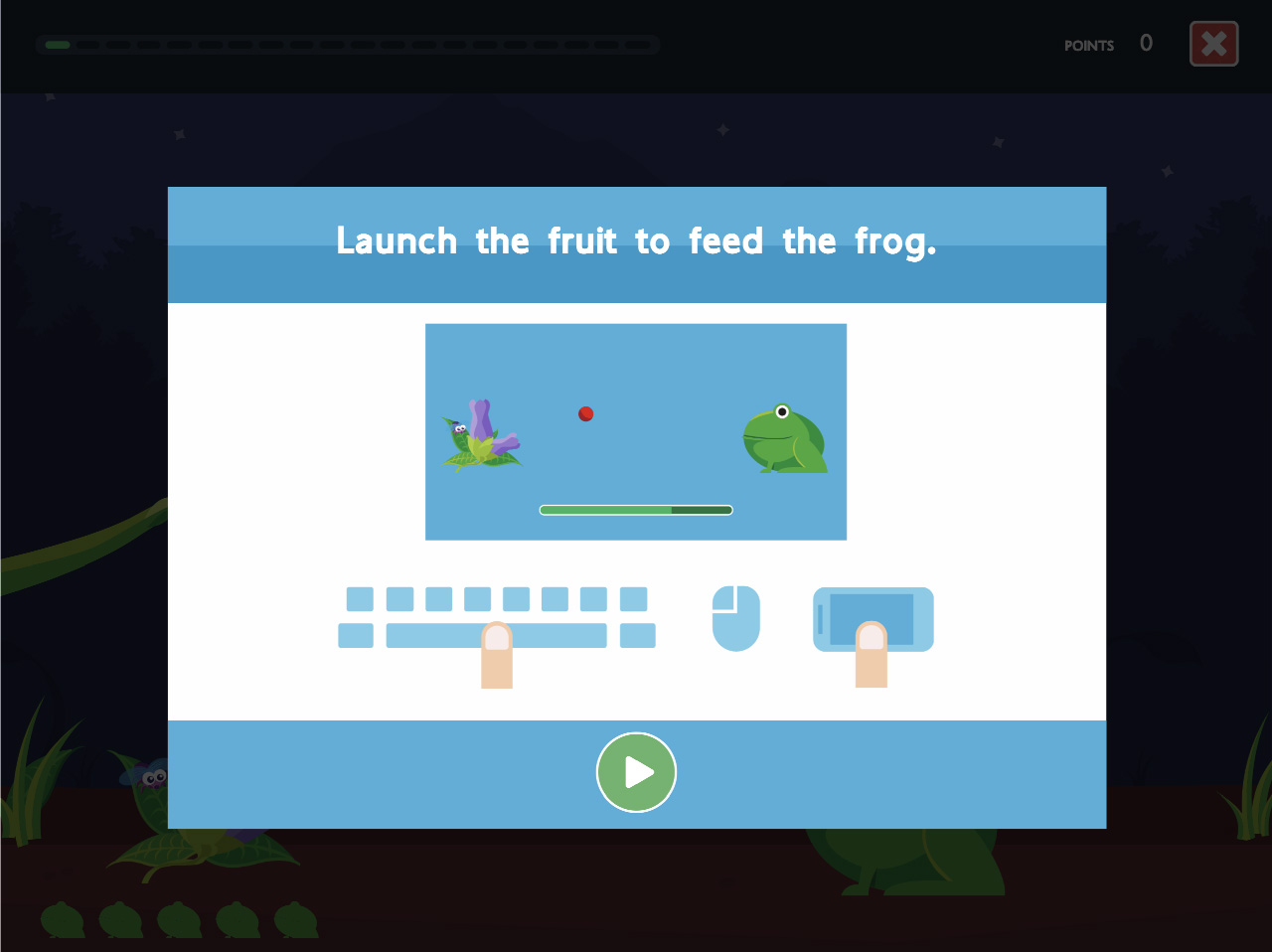 Feed the frog instruction screen